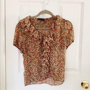 Tan Floral Ruffle Short Sleeve Blouse